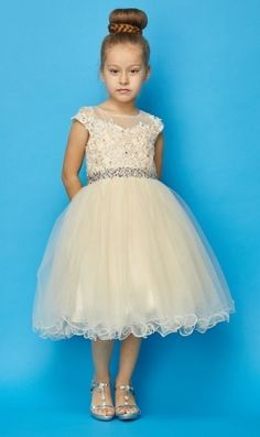 Lace & Tulle Flower Girl Dress in - Soft Tulle & Lace Golden Champagne Flower Girl Dress Lace Flower Girl Dress Matching Scarf included Fully Lined with Attached Crinoline Slip Sheer Bodice Panel Yellow Flower Girl Dresses, Toddler Flower Girl Dresses, Lace Flower Girls, Toddler Dress, Girls Dresses, Junior Bridesmaid Dresses, Bridesmaid Flowers, Wedding Dresses, Champagne Flower Girl