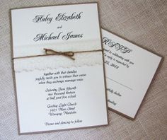 Shabby Chic Lace and Burlap twine Country Rustic Wedding Invitation on Wanelo
