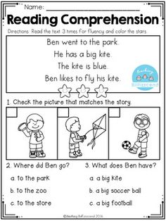 FREE Kindergarten Reading Comprehension Passages Best reading comprehension passages with visuals for beginning readers in kindergarten and in first grade. These reading comprehension activities are perfect for ESL/ELL students and special education. Kindergarten Math Worksheets, Reading Worksheets, School Worksheets, Kindergarten Reading, Preschool Learning, Teaching Reading, Learning Activities, Reading Comprehension Activities, Reading Passages