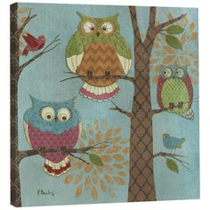 Tree-Free Greetings EcoArt Home Decor Wall Plaque 11.25 x 11.25 Inches Fantasy Owls Vertical Themed Paul Brent Art (85515) | OwlGifts.net