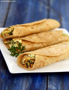 Paneer Veggie Wrap, easy-to-make and pleasing to the palate. Use leftover chapattis to make innovative wraps with a crunchy vegetable filling.