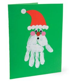Simple Christmas DIY Crafts for Kids - christmas handprint art – Bing Images - Christmas Card Crafts, Christmas Activities, Xmas Cards, Craft Activities, Christmas Art, Christmas Projects, Holiday Crafts, Simple Christmas, Father Christmas