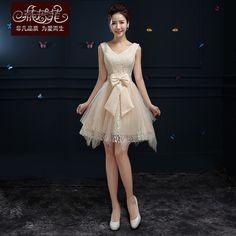 Cheap 2015 vestido de fiesta corto champán para mujeres elegantes vestidos de encaje con arco lindo del estilo coreano una línea tulle nuevo diseño caliente de la venta, Compro Calidad Vestidos de Gala directamente de los surtidores de China:   Detalles del producto
