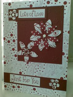 Easy card using a pack of coordinating papers layered together. I handcut the flowers using the scrap from a sheet of chipboard die cuts as a stencil and a hole punch for the centres. The paper pack also had a sheet of greetings in different fomts amd sizes . Very useful.
