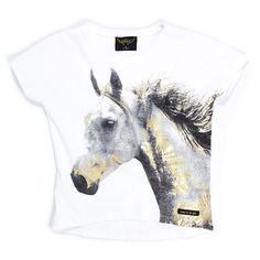 Finger in the Nose Ebony Off-White Gold Horse T-shirt   www.littlesahou.com