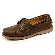Samuel Windsor Men's Handmade Leather Slip-on and Lace-up Boat Deck Shoes with Blake Stitch in Brown, Tan, Mustard Ochre, Navy Blue. (9, Brown)