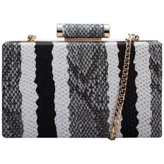 Claudia Canova Snake Print Clutch (170 RON) ❤ liked on Polyvore featuring bags, handbags, clutches, snake skin handbags, lipsy, python print handbag, snake print handbag and metal purse