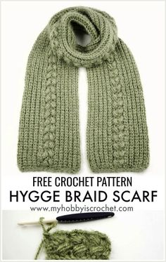 """""""Hygge Braid"""" Scarf – Free Crochet Pattern + Tutorial The """"Hygge Braid"""" is a very soft, warm and cozy knit look crochet scarf with a lovely drape. The puff stitch braiding adds dimension and. Crochet Scarves, Crochet Shawl, Crochet Clothes, Easy Crochet, Crochet Stitches, Free Crochet, Knit Crochet, Crochet Patterns For Scarves, Scarf Patterns"""