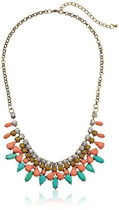 """Pastel Cabochon and Rhinestone Burnished Gold-Tone Statement Necklace, 18"""" + 3"""" Extender Amazon Collection http://www.amazon.com/dp/B00HQDAW2U/ref=cm_sw_r_pi_dp_oHVevb1SBKG6M"""