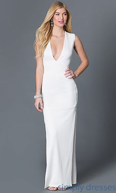 Shop floor length formal dresses with plunging necklines at Simply Dresses. Long V-neck dresses and sleeveless designer evening gowns for prom.
