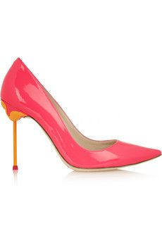 Make a statement in Sophia Webster's Coco Neon Patent-Leather Pumps. // #Heels #Shopping
