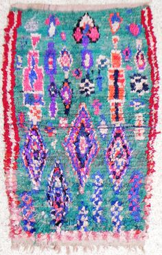 RAG  RUG BOUCHEROUITE from Morocco called also boucharouette berber tribal art, moroccan rag rug