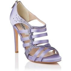 L.K. Bennett Capraia Satin Strappy Sandal (€155) ❤ liked on Polyvore featuring shoes, sandals, heels, purple, purple shoes, high heel shoes, high heel sandals, platform shoes, high heeled footwear and platform heel sandals