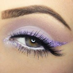 Light Purple (lavender) Glitter #Eyeliner + soft mauve crease definition | #pastel eye #Makeup @lindasteph