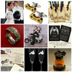 A great collection of items for bikers wedding