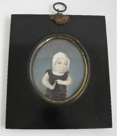 1826 Portrait Miniature of Child With Whistle--also note day cap