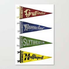 Vintage Hogwart's Pennant Collection Stretched Canvas by Andy Pitts - $85.00