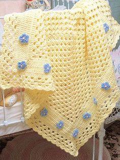 Baby Girl Crochet Blanket, Crochet Baby Blanket Free Pattern, Crochet Quilt, Granny Square Crochet Pattern, Crochet Blanket Patterns, Crochet Stitches, Baby Afghan Patterns, Crochet Blankets, Baby Afghans