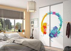 Chambre adolescent : porte de placard modèle Pixô. Personnalisez vos portes avec notre sélection d'images. Decoration, Divider, Images, Room, Furniture, Home Decor, Teenage Girl Bedrooms, Stretched Canvas, Closet Solutions