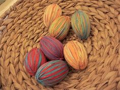More Yarn Eggs {plastic eggs wrapped in colorful yarn}