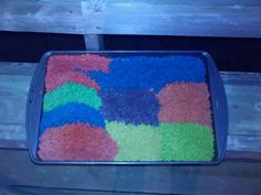 How to make colourful rice and use it in sensory play