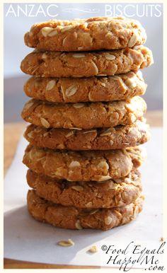 Anzac Biscuits Food Equals Happy Me Gluten Free Anzac Biscuits, Gluten Free Cookies, Eggless Desserts, Eggless Baking, Biscuit Cookies, Biscuit Recipe, Baking Recipes, Cookie Recipes, Cooking