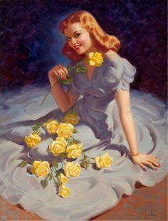 Art Frahm Yellow Roses Gray Dress