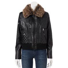 Juniors Dollhouse Faux-Fur Bomber Jacket in Black - Size Medium (6) NWT #Dollhouse #FauxFurBomberJacket
