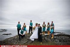 this couple got married on a pacific northwest beach, and all the attendants wore bright yellow rainboots. <3