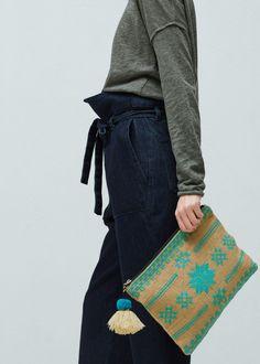 Jute cotton-blend bag | MANGO