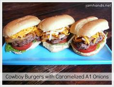 Hamburger Recipes : Cowboy Burgers with Caramelized A1 Onions