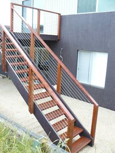 external staircase - metal and wood … Staircase Outdoor, Timber Staircase, Stair Handrail, Staircase Railings, Staircase Design, Staircases, Stair Design, Outside Stairs, Front Stairs