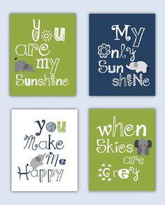 Elephant Art, You are my sunshine Light Olive Green and Navy Blue Art Prints, 4-8x10 prints, Matches Boy or Girl Nursery, nursery