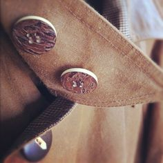 A/W 2012 sneak peak. Tagua nut and wood buttons on oiled cloth. (Taken with instagram)