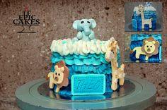 Ombré pastel blue safari cake for baptism