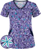 UA Flower Patch Dark Lilac Princess Seam Print Scrub Top
