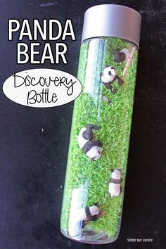 Make a panda bear discovery bottle for this month's Family Dinner Book Club! This fun I Spy activity is also perfect for learning about pandas or a panda theme unit - it's super easy to make and lots (Bottle Bag I Spy) Panda Activities, Sensory Activities, Infant Activities, Activities For Kids, Crafts For Kids, Motor Activities, Educational Activities, Toddler Crafts, Calm Down Jar