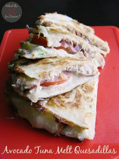 Creamy Avocado Tuna Melt Quesadillas   MomsTestKitchen.com   #BumbleBeeB2S #clevergirls