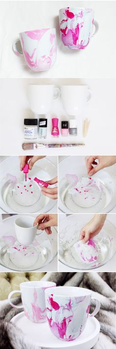 Tassen marmorieren mit Nagellack – DIY Anleitung Marble cups with nail polish – You can find the simple DIY instructions. Crafts To Sell, Fun Crafts, Diy And Crafts, Arts And Crafts, Cork Crafts, Summer Crafts, Creative Crafts, Diy Simple, Easy Diy