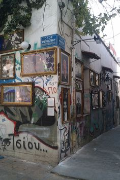 Jordan Makarof's outdoor gallery at Avliton street, Psiri