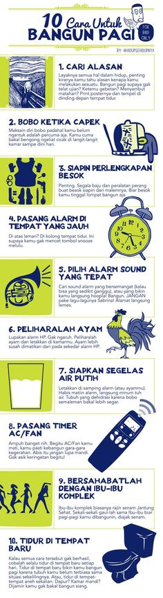 10 Cara Untuk Bangun Pagi > Early birds get the worms? Selamat bangun pagi wahai para burung, dan selamat mencaplok cacing-cacing cihuy di pagi ini #BTDTGTTS