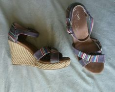 TOMS Womens 8.5 Colorful Striped Canvas Ankle Strap Sandals Wedges Shoes #TOMS #PlatformsWedges
