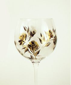 Hand Painted Crystal Wine Glasses  Gold and by HandPaintedPetals, $72.00