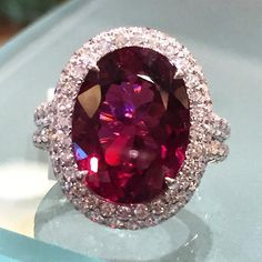 Beautiful 10.37 carat Rubelite and diamond ring.  #rings #diamonds #rubelite Call 216-464-6767 for more information.  www.alsonjewelers.com