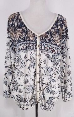 Lucky Brand Womens Peasant Blouse Size L Cream Blue Floral V-Neckline 3/4 Sleeve #LuckyBrand #Blouse #Casual