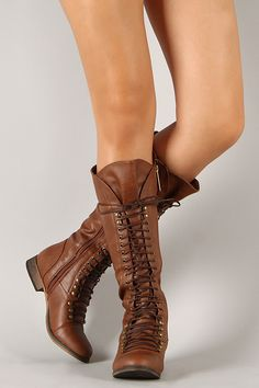 Breckelle,Georgia-35,Lace Up,Millitary,Knee High,Boot,