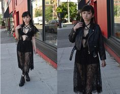 Get this look: http://lb.nu/look/8274825  More looks by Lovely Blasphemy: http://lb.nu/lovelyblasphemy  Items in this look:  Unif Vice Bra, Unif Staple Moto Jacket, H&M Shorts, Unif Rival Boots, The Rogue + Wolf Rings, La Belle Etude Black Lace Robe   #edgy #gothic #grunge #allblack #highwaisted #shorts #boots #platformboots #platforms