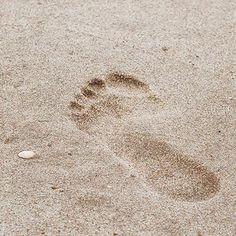 Footprint at the Baltic Sea beach in Ückeritz, Usedom.