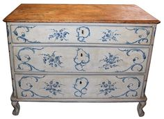 An 18th c. Italian Painted Blue & White Commode Chest of Drawers image 2--can use this as inspiration for up-cycling old dressers.