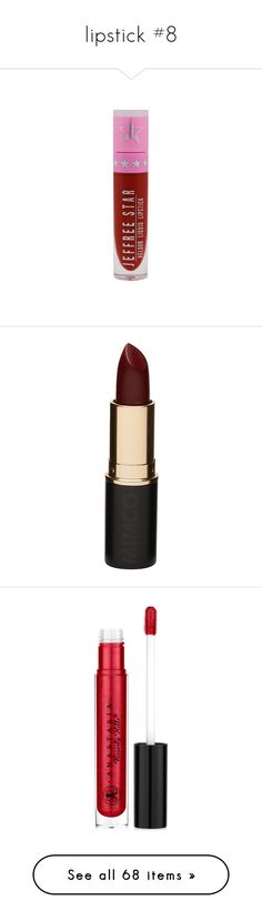 """""""lipstick #8"""" by headbangingunicorn ❤ liked on Polyvore featuring beauty products, makeup, lip makeup, lipstick, beauty, fillers, lips, blood red, long wearing lipstick and long wear lipstick"""